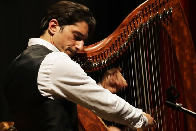how many strings does a harp usually have